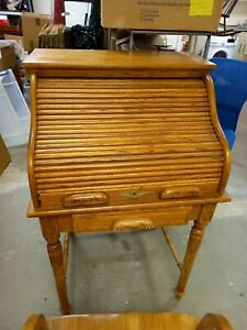 Small Secretary  Roll Top Writing Bureau with Tambour Lid