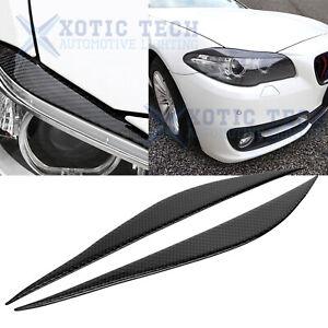 Carbon Fiber Headlight Eyelid Eyebrow Decor Cover Trim For BMW F30 2012-2018