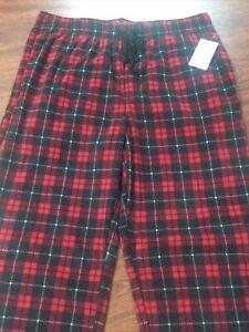 Croft & Barrow The Extra Soft Fleece Sleep Pants Red Black Plaid Pajamas Size L