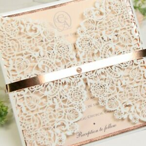 ROSE GOLD LASER CUT WEDDING INVITATIONS WITH ENVELOPES PRINTABLE TEMPLATE - DIY