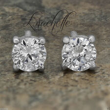 3.2 ct Brilliant Round Cut Screw Back Earring Studs Real Solid 14K White Gold
