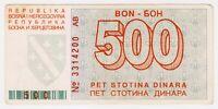1992 Bosnia 500 Dinara Very Rare War Money Siege of Sarajevo Paper Banknotes