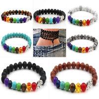 7 Chakra Healing Beaded Bracelet Natural Lava Stone Diffuser Bracelet Wrist