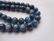 8mm Round Natural Blue Kyanite Semi Precious Gemstone Beads - 12 Beads
