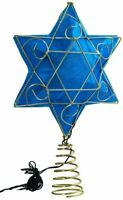 "Kurt Adler 13"" Gold & Blue Battery-Operated Lighted Deluxe Hanukkah Tree Topper"