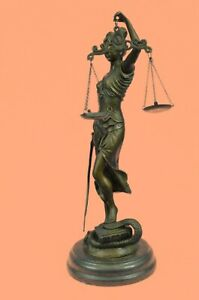 Collectible Art bronze sculpture 14 Tall Blind Justice Law Marble Lady Decorativ
