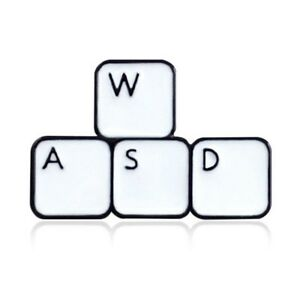 WASD Keyboard Warrior - Top Gamer Gift - Geek Nerd - Enamel Pin Badge Brooch
