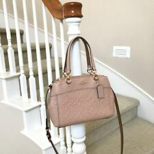 New Coach Mini Nude Pink Embossed Leather Brooke Carryall Satchel Bag F28472