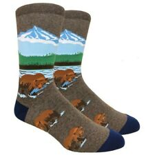 Fine Fit Mens Novelty Crew Dress Socks - LARGE - Grizzly Bear