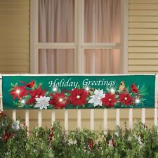 NEW! CHRISTMAS,Lighted Poinsettia Banner,Cardinals Porch,Fence,Patio,Decor