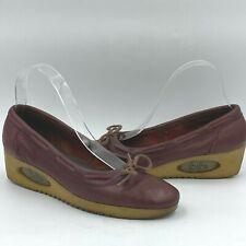 Vintage 1970s Yoyos size 8N Shoes Wedge Burgundy Leather Ballet Bow Yo yos O1