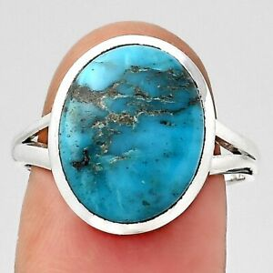 Natural Turquoise Morenci Mine 925 Sterling Silver Ring s.8 Jewelry E327