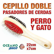 CEPILLO PEINE DOBLE PASADORES DE CERDAS PERRO Y GATO PELO MADERA D78 25300