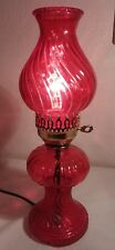 Red Flash Glass 15 Inch Tall Electric Oil Hurricane Lamp