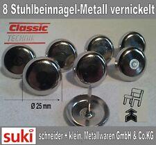 8 Stuhlbeinnägel Ø 25mm Stuhlbeingleiter Metalgleiter Teppichgleiter