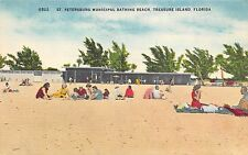 Treasure Island Florida 1940s Postcard St. Petersburg Municipal Bathing Beach