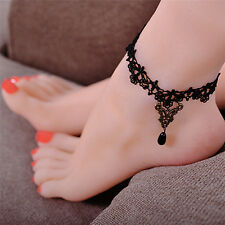 Gothic Anklet Chain Black Lace Woven Flowers Water Drop Pendant Anklet Jewelry H