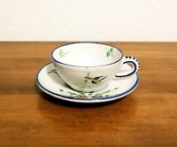 Gorgeous Vintage Classic Italian Hand Painted Pottery Tea Espresso Cup & Saucer