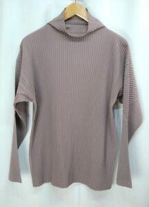 HOMME PLISSE ISSEY MIYAKE Pink Beige Men's High Neck Long Sleeve Top 252 0649