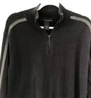 Calvin Klein Jeans Men's Size Large Quarter Zip Black Gray Long Sleeve Sweater