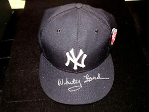 WHITEY FORD 1961 WSC MVP SIGNED AUTO 100TH YANKEES PATCH NEW ERA CAP HAT PSA/DNA