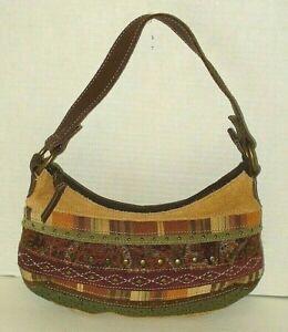 Fossil 1954 Vintage Purse Leather Hobo Suede Patchwork Handbag Shoulder Bag