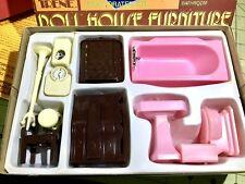 "Irene/Renwal RARE BOXED 11 PC BATHROOM SET Vintage Dollhouse Furniture 3/4"" 1:16"