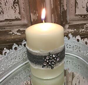 Candle Spear Spike Diamanté Silver Christmas Decoration Embellishments Vintage