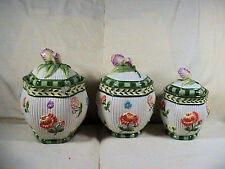 Vintage Fitz And Floyd Canister Set Rose Motif #1