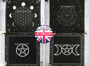 Altar Cloth Pentagram Triple Moon Pentacle Cotton Gothic Wiccan Pagan Gift UK