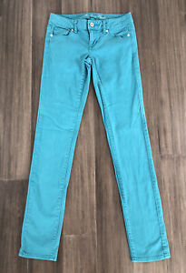 AMERICAN EAGLE OUTFITTERS Women's Juniors Teal Skinny Stretch Denim Jeans-Size 0