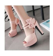 pale pink wedge heels with side bow