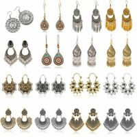 Women Vintage Bohemian Style Ethnic Carved Vine Flower Silver Stud Earrings Gift