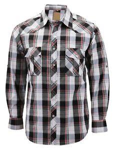 Men's Western Pearl Snap Button Down Casual Long Sleeve Plaid Cowboy Shirt