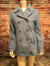 Lands' End Size 12 Wool Pea Coat, Double Breasted, Sky Blue