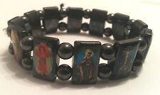 Modeschmuck Zugarmband Magnetarmband mit christlichen Abbildungen 18mm Hämatit