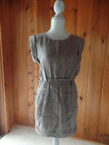 3.1 PHILLIP LIM Brown Linen Cap Sleeve Shift Dress Size 8