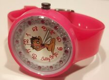 HORLOGE FEMME BETTY BOOP,BB105,FAUX DIAMANT,MONTRE BETTY BOOP,SANGLE CAOUTCHOUC,