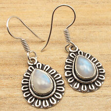 Blue Fire RAINBOW MOONSTONE Art Earrings ! Silver Plated ONE OF A KIND Jewelry