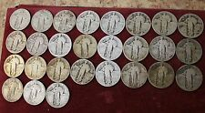 Lot Of 27 SILVER STANDING LIBERTY QUARTER CIRCULATED %90 Silver Quarters.