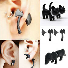 3D Stereoscopic Black Animal Impalement Men and Women Ear Stud Earring H&T