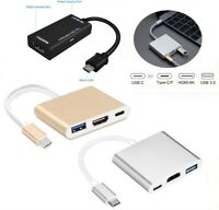 Type C USB 3.1 to USB-C 4K HDMI USB 3.0 Adapter 3 in 1 Hub Cable For Macbook Pro