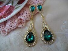 VINTAGE CZECH EMERALD GLASS CRYSTAL GOLD TONE HIGH TEA EAR RINGS EARRINGS
