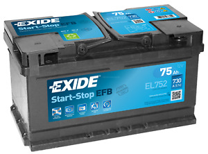 Exide Efb EL752 75Ah Start-Stop Car Battery now Ready for Use