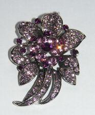 Beautiful Floral Flower Costume Brooch Light & Dark Purple Rhinestones B32