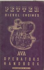 PETTER AVA DIESEL ENGINE ORIGINAL 1954 OPERATORS HANDBOOK