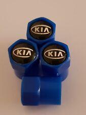KIA blue VALVE DUST CAPS PLASTIC NON STICK 7 colours all models