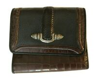 Vintage Brighton Black Leather and Brown Embossed Croc Wallet