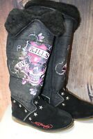 "Ed Hardy 5 Winter Tall Puffy ""LOVE KILLS SLOWLY"" Women's Boots"