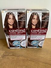 L'Oreal Casting Creme Gloss Hair Dye Iced Brown 415 Temporary Colour x 2 Boxes